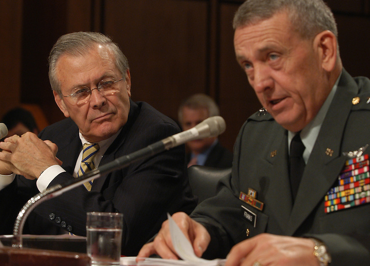 iraq1/070903  Defense Secretary Donald Rumsfeld and Gen. Tommy Franks, Commander of U.S. Central Command,  testify at an Armed Service Committee on Iraq/Afghanistan lessons.