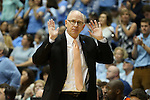 20 February 2016: Miami head coach Jim Larranaga. The University of North Carolina Tar Heels hosted the University of Miami Hurricanes at the Dean E. Smith Center in Chapel Hill, North Carolina in a 2015-16 NCAA Division I Men's Basketball game. UNC won the game 96-71.