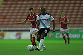 12th September 2017, Oakwell, Barnsley, England; Carabao Cup, second round, Barnsley versus Derby County; Andre Wisdom of Derby Countywins the ball of Ryan Hedges of Barnsley FC