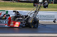 Jun. 1, 2013; Englishtown, NJ, USA: Detailed view of the parachute popping and tire distortion on the car of NHRA top fuel dragster driver David Grubnic during qualifying for the Summer Nationals at Raceway Park. Mandatory Credit: Mark J. Rebilas-