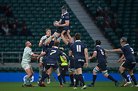 Twickenham, Surrey. UK.  Charlie POZNIAK, collects the line out ball,during the 2017 Men's Varsity Rugby Match, Oxford vs Cambridge Universities. RFU Stadium, Twickenham. Surrey, England.<br />