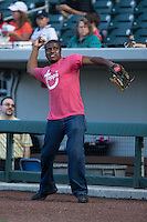 """Actor Antonio """"Tony"""" Todd warms up prior to throwing out a ceremonial first pitch prior to the International League game between the Columbus Clippers and the Charlotte Knights at BB&T BallPark on May 3, 2016 in Charlotte, North Carolina.  The Clippers defeated the Knights 8-3.  (Brian Westerholt/Four Seam Images)"""