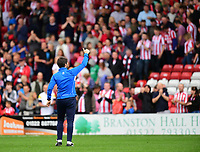 Lincoln City manager Danny Cowley acknowledges the fans at the final whistle <br /> <br /> Photographer Chris Vaughan/CameraSport<br /> <br /> The EFL Sky Bet League Two - Lincoln City v Morecambe - Saturday August 12th 2017 - Sincil Bank - Lincoln<br /> <br /> World Copyright &copy; 2017 CameraSport. All rights reserved. 43 Linden Ave. Countesthorpe. Leicester. England. LE8 5PG - Tel: +44 (0) 116 277 4147 - admin@camerasport.com - www.camerasport.com