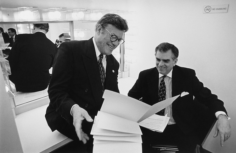 Rep. Esteban Edward Torres, D-Calif., and Rep. Ray LaHood, R-Ill., practicing lines, behind stage, before Hexagon performance at Lincoln Theater on March 24, 1997. (Photo by CQ Roll Call)