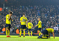 Blackburn Rovers players look dejected after conceding a second goal in injury time<br /> <br /> Photographer Alex Dodd/CameraSport<br /> <br /> The EFL Sky Bet Championship - Leeds United v Blackburn Rovers - Wednesday 26th December 2018 - Elland Road - Leeds<br /> <br /> World Copyright &copy; 2018 CameraSport. All rights reserved. 43 Linden Ave. Countesthorpe. Leicester. England. LE8 5PG - Tel: +44 (0) 116 277 4147 - admin@camerasport.com - www.camerasport.com