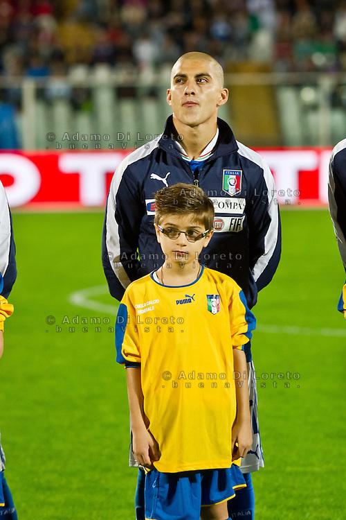 PESCARA (PE) 12/10/2012: QUALIFICAZIONE EUROPEI UNDER 21 ITALIA - SVEZIA. PARTITA VINTA DALL'ITALIA CON UN GOAL DI IMMOBILE. NELLA FOTO DE LUCA ITALIA  FOTO ADAMO DI LORETO
