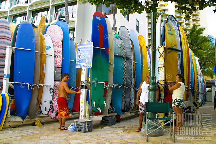 Surfboards of all shapes,colors and sizes are available for rent by locals and tourists alike. Located near Kuhio Beach Park and Waikiki Beach