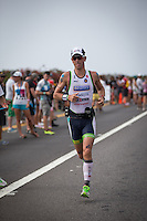 Frederik Van Lierde leads the men on the run at the 2013 Ironman World Championship in Kailua-Kona, Hawaii on October 12, 2013.