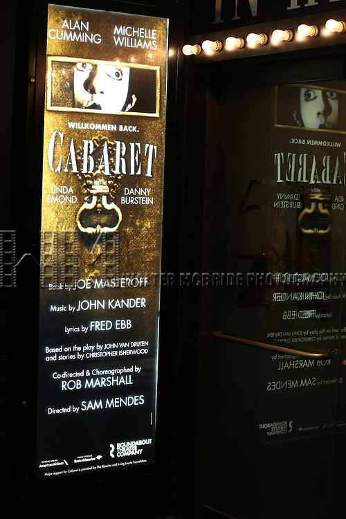 Theatre Marquee for the Broadway Opening Night Performance for  'Cabaret' at Studio 54 on April 24, 2014 in New York City.