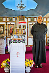 Alaskan native priest at Holy Transfiguration of Our Lord Chapel, Ninilchik, Kenai Peninsula, Southcentral Alaska.