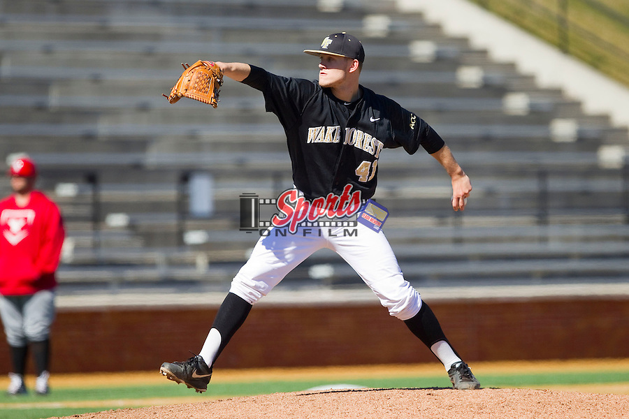Wake Forest Demon Deacons starting pitcher Mark McCoy (41) in action against the Youngstown State Penguins at Wake Forest Baseball Park on February 24, 2013 in Winston-Salem, North Carolina.  The Demon Deacons defeated the Penguins 6-5.  (Brian Westerholt/Sports On Film)