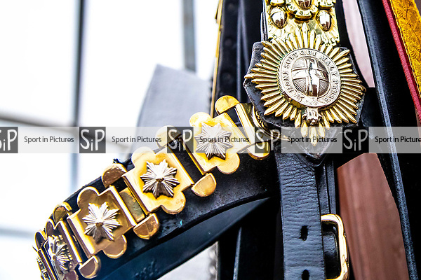 Day 2. Royal Windsor Horse Show. Windsor. Berkshire. UK.  The Mounted Band of the Household Cavalry. Behind the scenes. Bridle. 10/05/2018. ~ MANDATORY Credit Elli Birch/Sportinpictures - NO UNAUTHORISED USE - 07837 394578