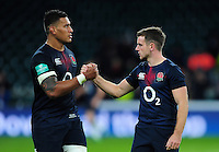 Nathan Hughes and George Ford of England after the match. Old Mutual Wealth Series International match between England and Fiji on November 19, 2016 at Twickenham Stadium in London, England. Photo by: Patrick Khachfe / Onside Images