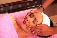 Relaxing facial massage at vacation health spa