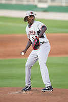 Hickory Crawdads starting pitcher Akeem Bostick (23) in action against the Kannapolis Intimidators at CMC-Northeast Stadium on May 19, 2014 in Kannapolis, North Carolina.  The Crawdads defeated the Intimidators 10-6.  (Brian Westerholt/Four Seam Images)