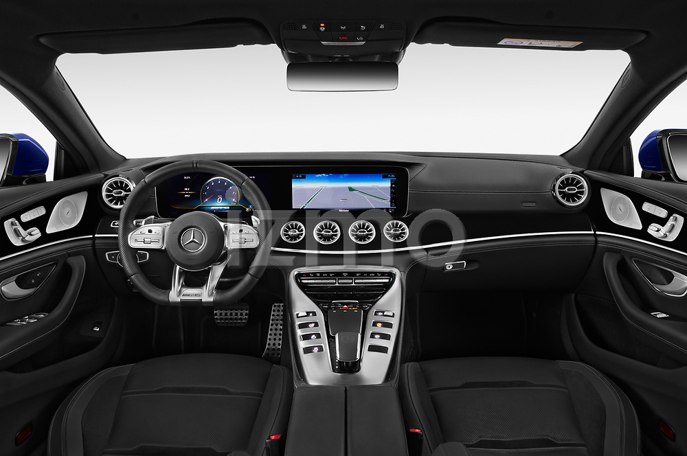 Stock photo of straight dashboard view of a 2019 Mercedes Benz AMG-GT 63-S 5 Door Hatchback