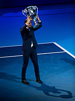 Rafael Nadal of Spain (1) collects his ATP World No1 Award on Day 1 of the ATP World Tour Finals<br /> <br /> Photographer Ashley Western/CameraSport<br /> <br /> International Tennis - Barclays ATP World Tour Finals - O2 Arena - London - Day 1 - Sunday 12th November 2017<br /> <br /> World Copyright &not;&copy; 2017 CameraSport. All rights reserved. 43 Linden Ave. Countesthorpe. Leicester. England. LE8 5PG - Tel: +44 (0) 116 277 4147 - admin@camerasport.com - www.camerasport.com