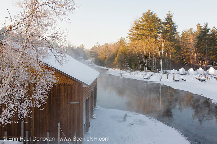 Winter fog over Squam Lake during the winter months. Located in Ashland, New Hampshire USA