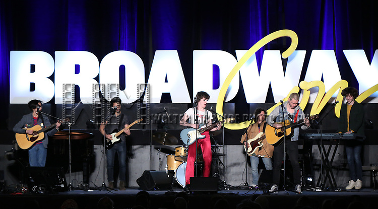 """Johnny Newcomb and Skyler Volpe from """"Sing Street - A Musical""""  during the BroadwayCON 2020 First Look at the New York Hilton Midtown Hotel on January 24, 2020 in New York City."""