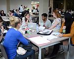 Students at the cafetaria and at the library of Rīgas Stradiņa universitāte, Riga, May 2013.