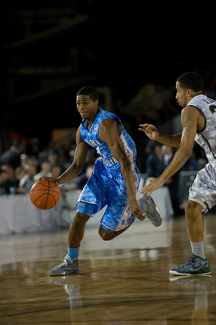 SAN DIEGO, CA - NOVEMBER 11, 2011: Dexter Strickland (1) of the North Carolina Tar Heels in action during the 2011 Quicken Loans Carrier Classic versus the Michigan State Spartans on the USS Carl Vinson..(Photo by Robert Beck / ESPN)..- RAW FILE AVAILABLE -.- CMI000165218.jpg -