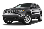 Stock pictures of low aggressive front three quarter view of a 2015 Jeep Grand Cherokee Laredo 5 Door SUV