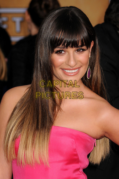 Lea Michele (wearing Valentino).Arrivals at the 19th Annual Screen Actors Guild Awards at the Shrine Auditorium in Los Angeles, California, USA..27th January 2013.SAG SAGs headshot portrait pink strapless dip dye beauty fringe bangs hair dangling earring .CAP/ADM/BP.©Byron Purvis/AdMedia/Capital Pictures