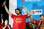 Spain National Team player Pau Gasol during the celebration after winning the World Championships Baskeball in Madrid, Monday September 04 2006. (ALTERPHOTOS/Alvaro Hernandez).