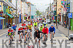 Cyclists coming through Cahersiveen on Saturday morning doing the Ring of Kerry Charity Cycle.