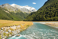 Matukituki River and mountains, Mt. Aspiring National Park, Central Otago, South Island, World Heritage Area,New Zealand