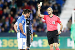 Spanish referee Alfonso Javier Alvarez Izquierdo show yellow card to CD Leganes' Gabriel Pires during La Liga match. April 5,2017. (ALTERPHOTOS/Acero)