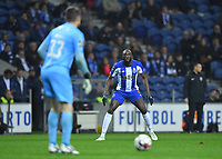28th January 2020; Dragao Stadium, Porto, Portugal; Portuguese Championship 2019/2020, FC Porto versus Gil Vicente; Moussa Marega of FC Porto waits for keeper Denis looks to pass the ball out of his box