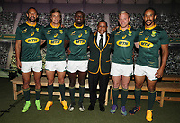 (L) to (R) Dillyn Leyds - Andries Coetzee -Raymond Rhule - Allister Coetzee (Head Coach) of South Africa Ross Cronje and Courtnall Skosan of South Africa during the South African Official Springbok team photograph at the team hotel Southern Sun Pretoria Hotel,Pretoria South Africa. 9th June 2017(Photo by Steve Haag Sports)