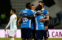 MANIZALES - COLOMBIA, 06-05-2017: Jugadores de Millonarios celebran después de anotar un gol a Once Caldas durante partido por la fecha 16 de Liga Águila I 2017 jugado en el estadio Palogrande de la ciudad de Manizales. / Players of Millonarios celebrate after scoring a goal to Once Caldas during match for the date 16 of the Aguila League I 2017 played at Palogrande stadium in Manizales city. Photo: VizzorImage / Santiago Osorio / Cont