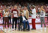 NWA Democrat-Gazette/BEN GOFF @NWABENGOFF<br /> Eddie Sutton and Nolan Richardson, former Arkansas coaches, accept 'Back to Barnhill' posters before the game Saturday, Oct. 5, 2019, during the annual Arkansas Red-White Game at Barnhill Arena in Fayetteville.