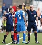 Derek Lyle told to leave the field after his red card by ref Bobby Madden and assistant Crawford Allan