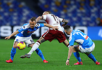29th February 2020; Stadio San Paolo, Naples, Campania, Italy; Serie A Football, Napoli versus Torino; Stanislav Lobotka of Napoli holds off Simone Zaza of Torino FC