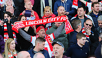 Lincoln City fans celebrate after the game<br /> <br /> Photographer Chris Vaughan/CameraSport<br /> <br /> Vanarama National League - Lincoln City v Macclesfield Town - Saturday 22nd April 2017 - Sincil Bank - Lincoln<br /> <br /> World Copyright &copy; 2017 CameraSport. All rights reserved. 43 Linden Ave. Countesthorpe. Leicester. England. LE8 5PG - Tel: +44 (0) 116 277 4147 - admin@camerasport.com - www.camerasport.com