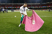 Sergio Ramos of Real Madrid celebrates with a dance after the UEFA Champions League Final match between Juventus and Real Madrid at the Principality Stadium on June 3rd 2017 in Cardiff, Wales. <br /> <br /> Foto Daniel Chesterton / Panoramic / Insidefoto
