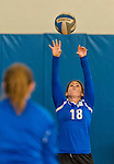 18 October 2015: Yeshiva University Maccabee Defensive Specialist Ilana Peck, a Junior from Norfolk, VA, warms up prior to a game against the College of Mount Saint Vincent Dolphins at the Peter Sharp Center, in Riverdale, NY. The Dolphins defeated the Maccabees 3-0 in the NCAA Division III Women's Volleyball Skyline matchup. Mandatory Credit: Ed Wolfstein Photo *** RAW (NEF) Image File Available ***