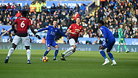 Leicester City's James Maddison battles with Manchester United's Paul Pogba<br /> <br /> Photographer Hannah Fountain/CameraSport<br /> <br /> The Premier League - Leicester City v Manchester United - Sunday 3rd February 2019 - King Power Stadium - Leicester<br /> <br /> World Copyright © 2019 CameraSport. All rights reserved. 43 Linden Ave. Countesthorpe. Leicester. England. LE8 5PG - Tel: +44 (0) 116 277 4147 - admin@camerasport.com - www.camerasport.com