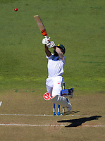 Temba Bavuma tries to hit a bouncer on day two of the first test between the New Zealand Black Caps and South Africa Proteas at Hawkins Basin Reserve in Wellington, New Zealand on Friday, 17 March 2017. Photo: Dave Lintott / lintottphoto.co.nz