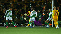 4th March 2020; Almondvale Stadium, Livingston, West Lothian, Scotland; Scottish Premiership Football, Livingston versus Celtic; Fraser Forster of Celtic tries to reach the ball as Scott Robinson of Livingston makes it 2-1 to Livingston in the 46th minute