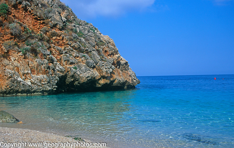 Beach and small bay Zingaro nature reserve, Scopello, Trapani province, Sicily, Italy