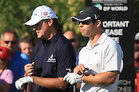 Paul Lawrie (SCO) and Paul Casey (ENG) on the third day of the DUBAI WORLD CHAMPIONSHIP presented by DP World, Jumeirah Golf Estates, Dubai, United Arab Emirates.Picture Denise Cleary www.golffile.ie