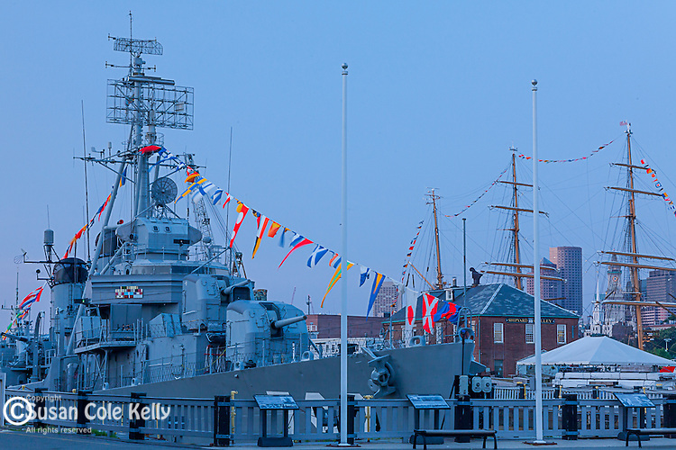 Naval vessels at the Charlestown Navy Yard, Boston, Massachusetts, USA