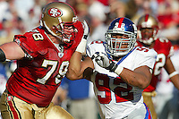New York Giants Michael Strahan in Action against the SF 49ers