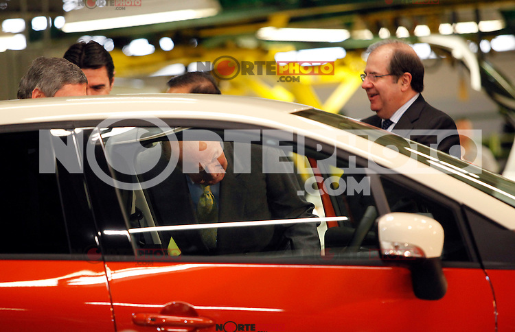 King Juan Carlos I of Spain visits Renault factory in Valladolid, Spain, with Carlos Ghosn, chairman and CEO of the Renault-Nissan Alliance and Soraya Saenz de Santamaria, First deputy prime minister, during 60th.aniversary of Renault 4CV manufacture and the inauguration of Renault Captur. (Alterphotos/Victor J Blanco)