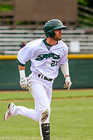 Beloit Snappers outfielder Jack Meggs (23) runs to first base during a Midwest League game against the Quad Cities River Bandits on May 20, 2018 at Pohlman Field in Beloit, Wisconsin. Beloit defeated Quad Cities 3-2. (Brad Krause/Four Seam Images)