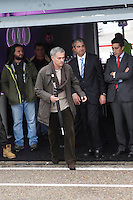 Real Madrid coach Jose Mourinho participates and receives new Audi during the presentation of Real Madrid's new cars made by Audi at the Jarama racetrack on November 8, 2012 in Madrid, Spain.(ALTERPHOTOS/Harry S. Stamper) .<br />